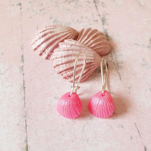 Pearl hot pink seashell hoop earrings