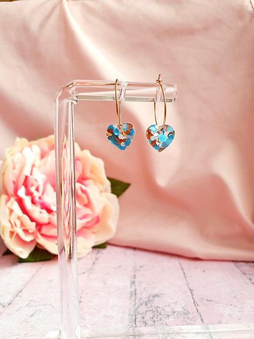 Glitter heart hoop earrings - in gold, blue and white