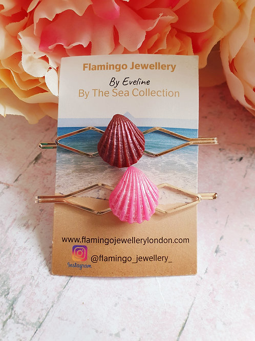 Set of 2 hair pins - pearl effect seashell in pink and burgundy