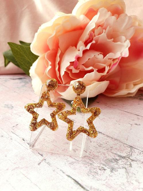 Golden Star Dangle Earrings