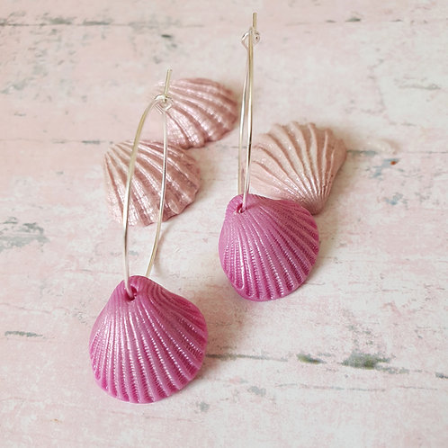 Pearl Mauve Pink Seashell Hoop Earrings