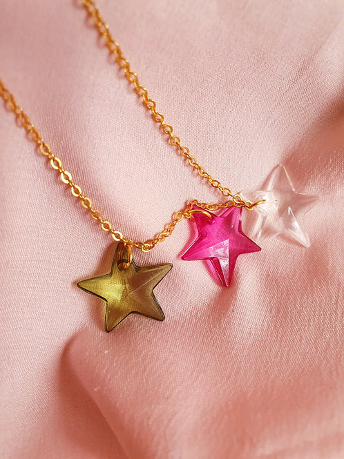 Star Necklace - green, pink and white