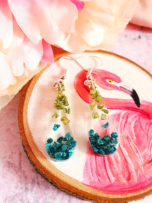 925 sterling silver sparkly earrings - green and teal