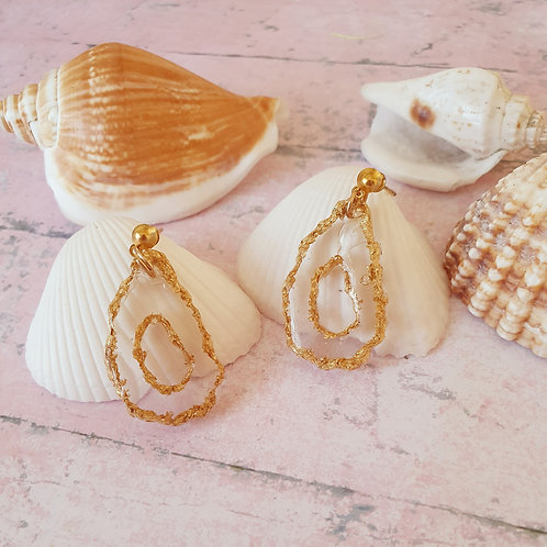 Transparent dangles with gold outline - handmade earrings