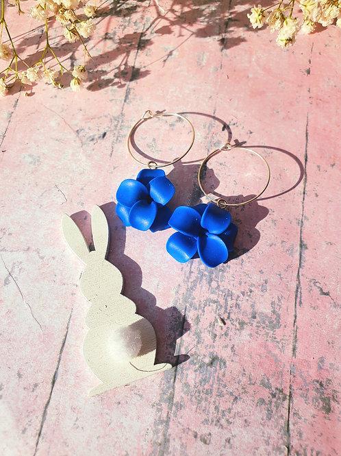 Royal Blue Flower Hoop Earrings