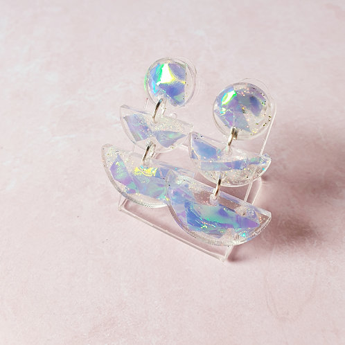 Holographic transparent dangles - hypoallergenic