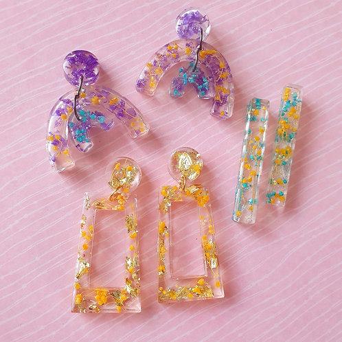 2-tier arch flower petals earrings - hypoallergenic
