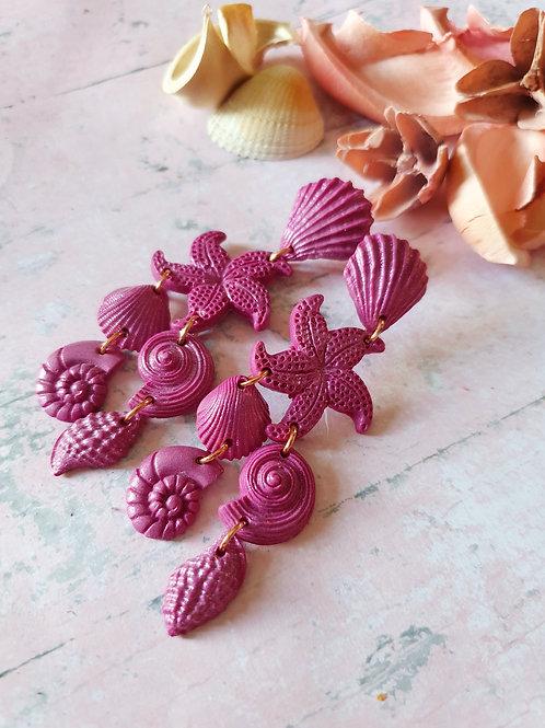 Deep berry pearl effect statement seashell earrings