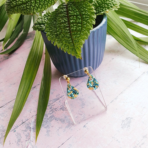 Teal and gold tiny drop earrings
