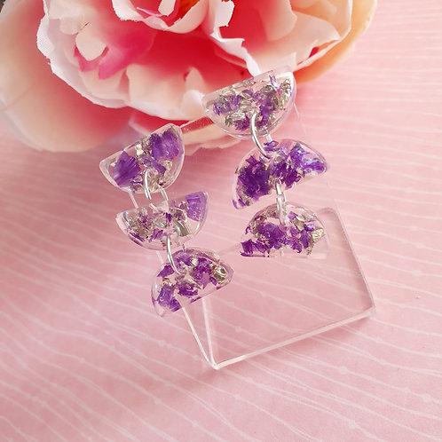 3-tier flower petal dangle earrings - hypoallergenic