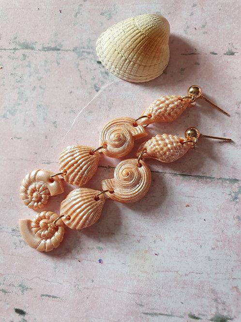 Cream seashell dangle earrings