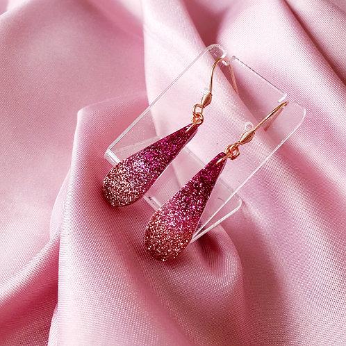 Ombre pink glitter teardrop earrings - rose gold details