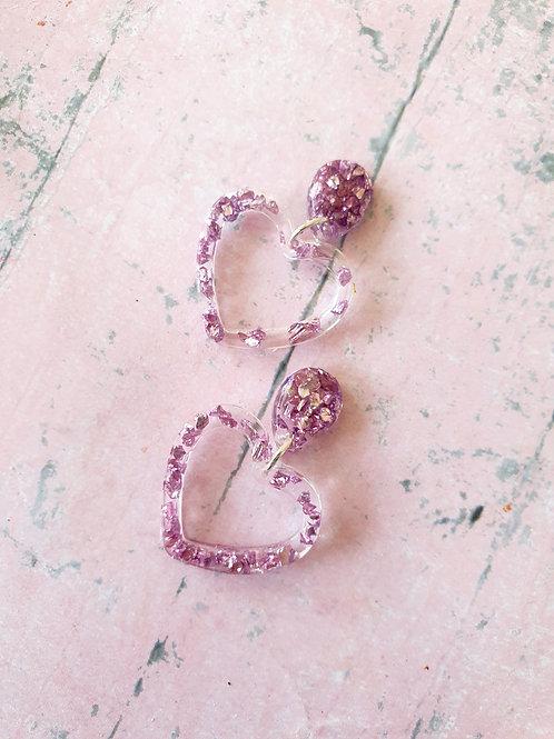 Purple sparkly little stones in resin - heart earrings - hypoallergenic