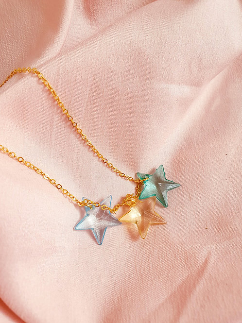 Star Necklace - blue, yellow and green stars