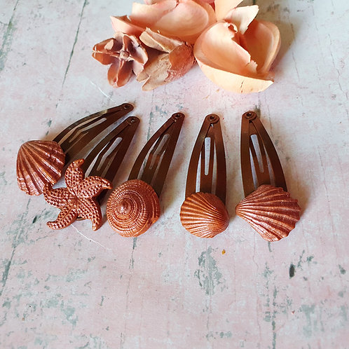 Bronze effect hair clips - set of 5
