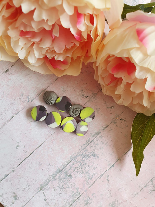 Grey and neon yellow hair barrette set of 2