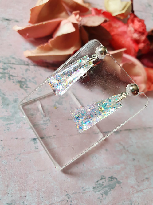 Two tone glitter and clear  resin earrings