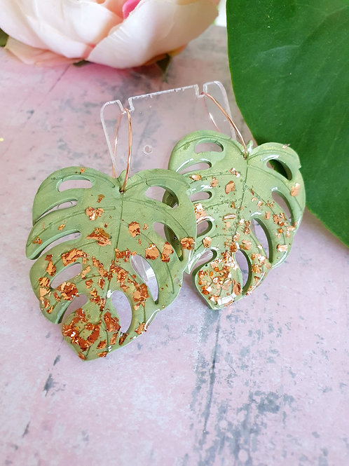 Light green and shiny gold leaf Monstera Plant hoop earrings