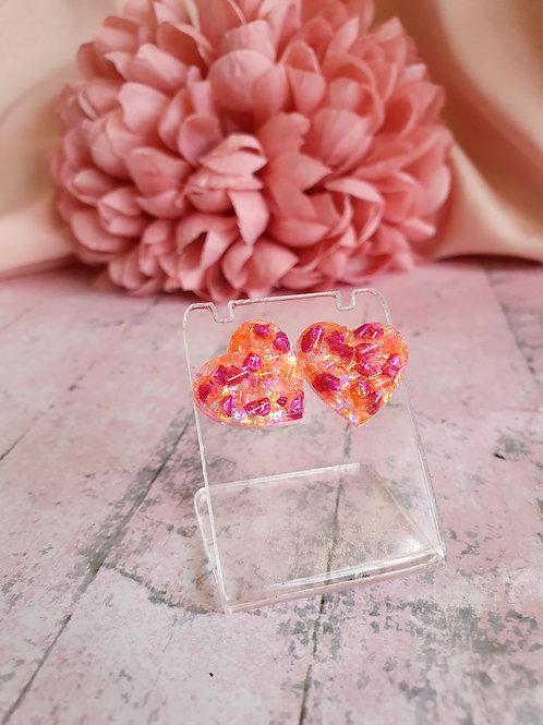 Heart Earrings - orange/pink - hypoallergenic
