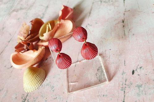 Burgundy pearl effect seashell earrings