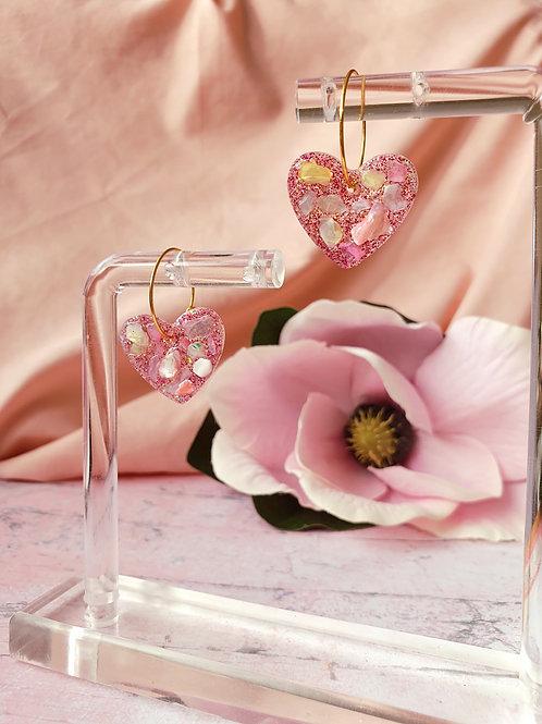 Little ivory shell heart hoop earrings