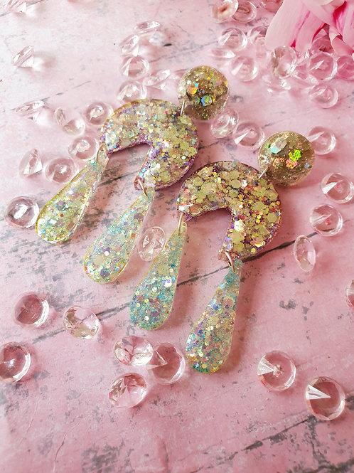All glitter long dangle earrings - hypoallergenic