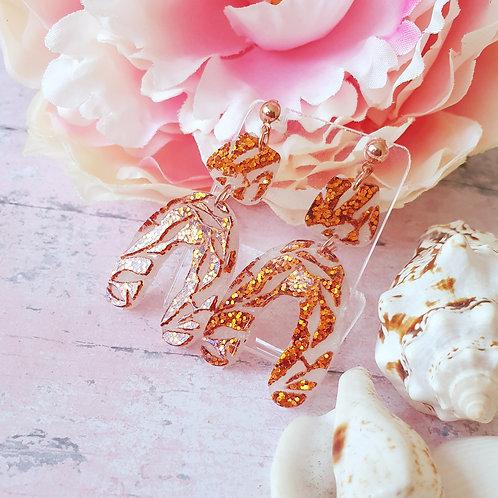 3d Floral Arch Earrings  - warm bronze glitter details
