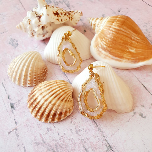 Pearl effect dangles with gold outline - handmade earrings