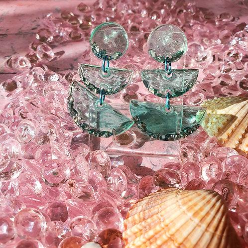 Green 3-tier decorated earrings - hypoallergenic