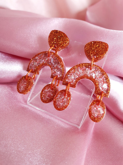 Super Fancy Sparkly Dangle Earrings in bronze&pink