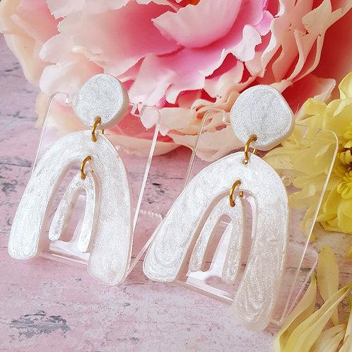 Pearl effect double arch dangle earrings