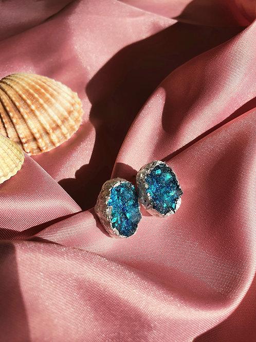Druzy sparkly ear studs - hypoallergenic