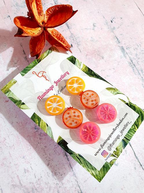 Orange, Pomegranate and Pink Grapefruit Earstuds - hypoallergenic