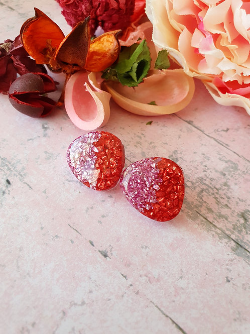 Pink and Red Sparkly Ear Studs