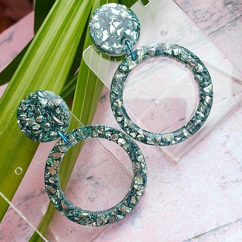 Green sparkly stones earrings - hypoallergenic