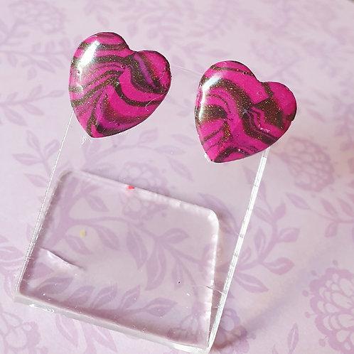 Animal print earstuds in gloss pink - hypoallergenic