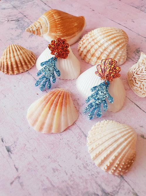 Coral Seashell earrings - hypoallergenic