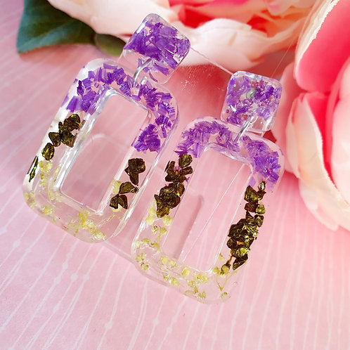 Flower petals geometric resin dangle earrings - hypoallergenic