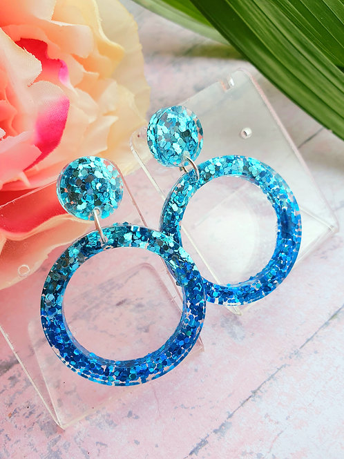 Blue two tones glitter earrings - hypoallergenic