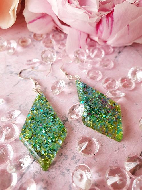 925 Sterling Silver two tones green glitter earrings