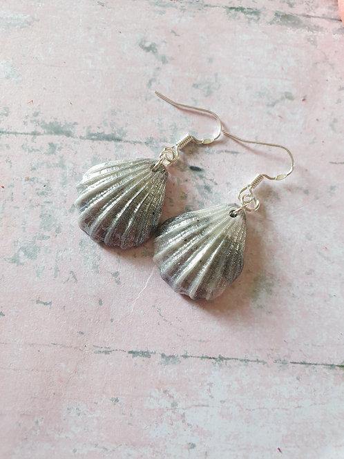Marble pearl effect seashell earrings - 925 sterling silver