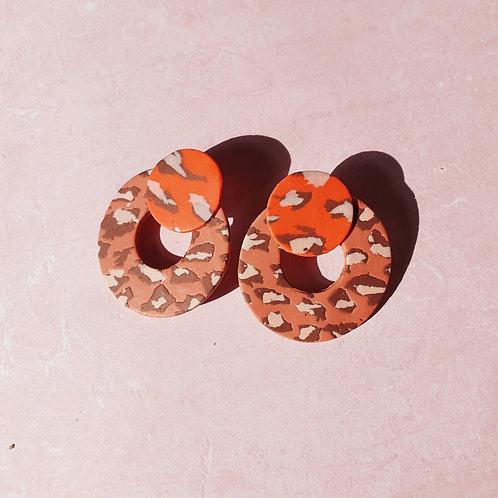 Clip on animal print ear studs