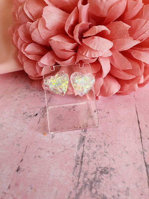 Heart Earrings - transparent holo - hypoallergenic