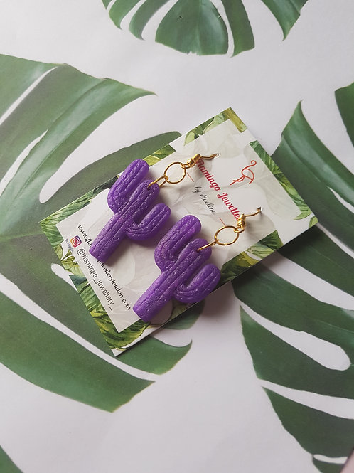 Cactus earrings - dark purple