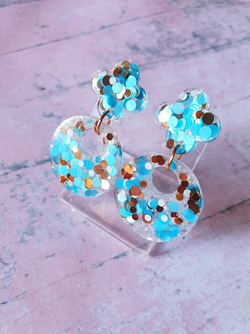 Blue and gold chunky glitter dangles - hypoallergenic