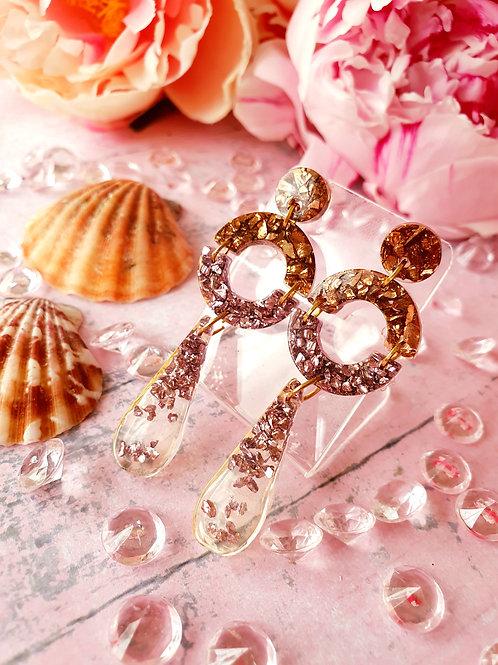 Sparkly stones unique dangle earrings