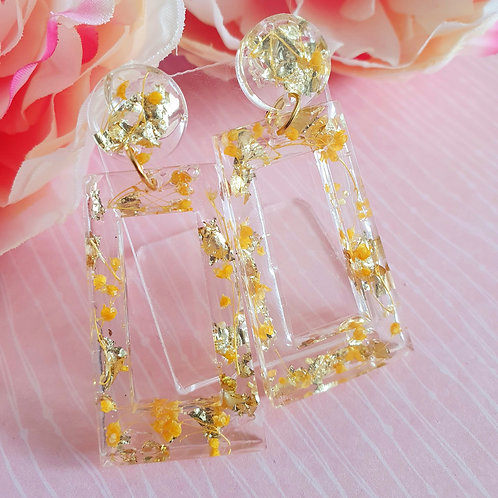 Yellow flower and gold leaf dangle earrings - hypoallergenic