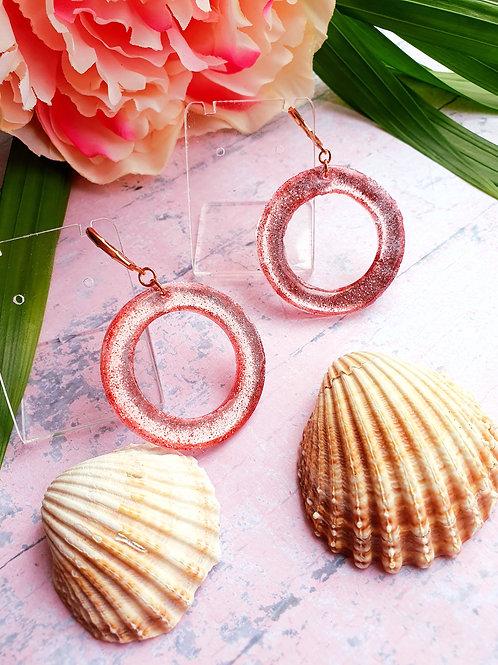 Rose Gold Glitter Hoop Dangle Earrings