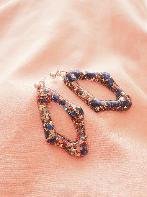Blue/red/gold dlitter dangle earrings