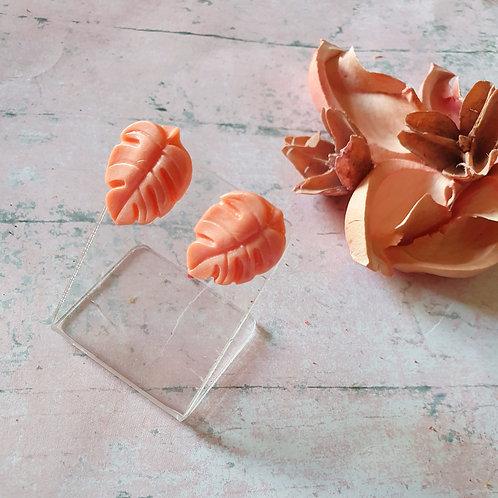 Peach pearl effect monstera leaf earstuds